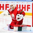 MINSK, BELARUS - MAY 22: Kevin Lalande #35 of Belarus makes a save on this play during quarterfinal round action against Sweden at the 2014 IIHF Ice Hockey World Championship. (Photo by Andre Ringuette/HHOF-IIHF Images)